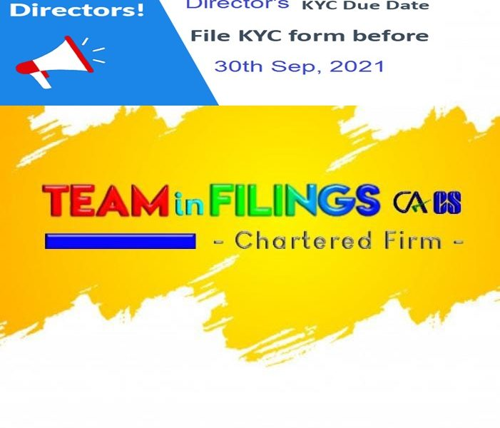Director KYC due date 30 Sept, 2021 Avoid Late Fee INR 5000